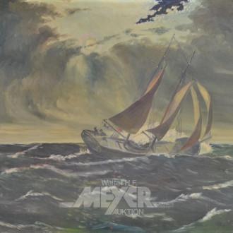 Gemälde ''Schiff in stürmischer See''
