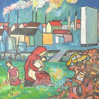 Gemälde ''Mutter mit Kind vor Siedlung''