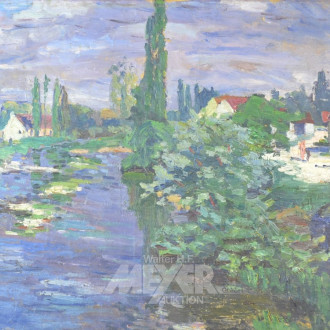 Gemälde ''Dorfansicht am See''
