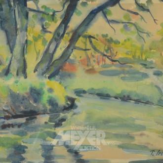 Aquarell ''Waldstück mit See''