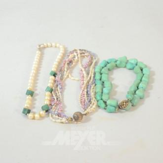 3 versch. Perlen und Türkisketten