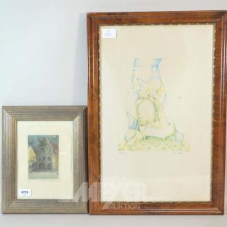 2 Bilder ''Hausansicht und Interieur''