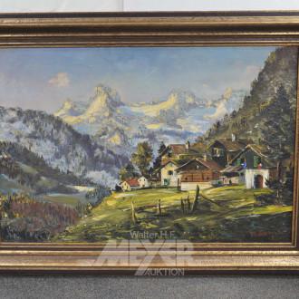 Gemälde ''Dorfansicht vor Gebirge''