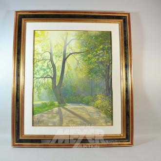 3 Gemälde ''Lichtung im Wald, See, Waldweg''