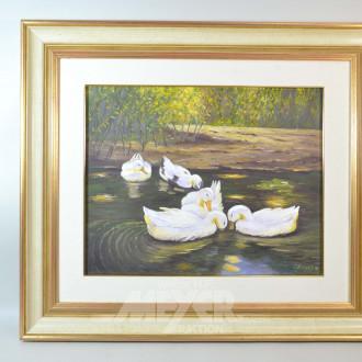 3 Gemälde ''Enten, See, Dorfweg''