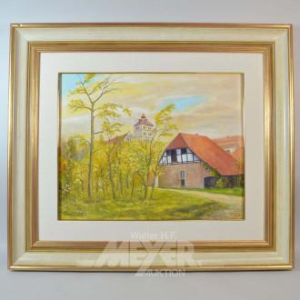 3 Gemälde ''Dorfansicht, Bachlauf, Feldweg''