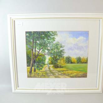 2 Gemälde ''Blumenstillleben, Waldweg''
