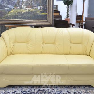 Ledersofa mit passendem Sessel, gelb,