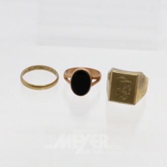 3 Ringe, 333er GG, ca. 11 g