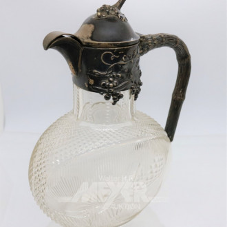 Kristall-Weinkanne mit Silbermontierung
