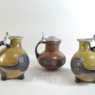 3 Keramik Krüge mit Zinndeckel