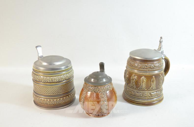 6 Keramik Bierkrüge, mit Zinndeckel