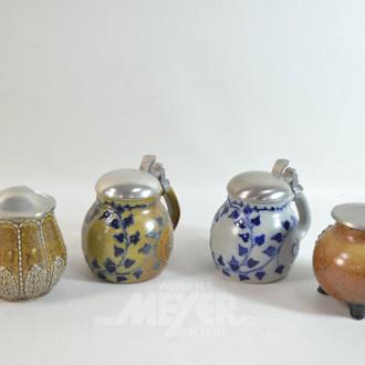 7 Keramik Bierkrüge, mit Zinndeckel
