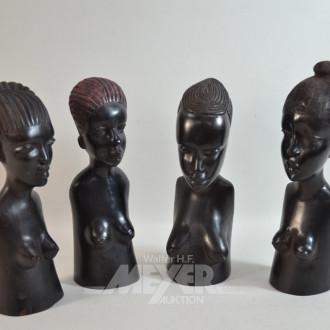 4 Holzschnitzfiguren ''Afrikanerinen''
