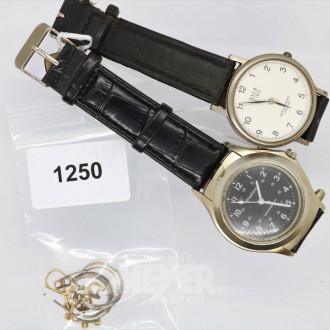 2 Herrenarmbanduhren und Ohrstecker