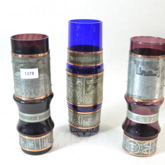 3 farb. Glas-Vasen mit Zinn-Montierung