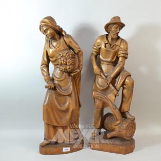 Paar Holzschnitz-Figuren ''Landwirte''