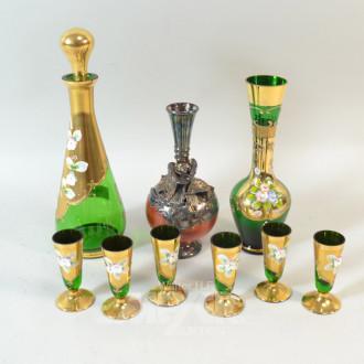 Likör-Service, Glas grün mit polychromer
