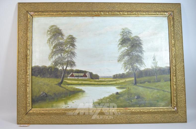 Gemälde, ''Gehöft mit See'', unsigniert