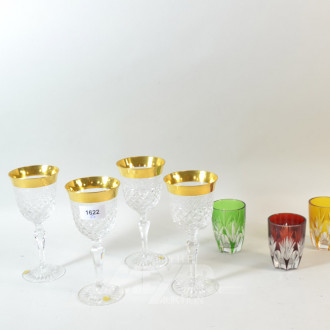 7 Kristallgläser u.a. mit Goldranddekor
