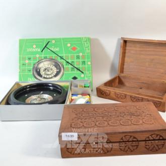 Roulette Spiel und 2 Holzschatullen