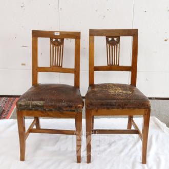 2 Stühle, Ende 19 Jh., Bezug Leder,
