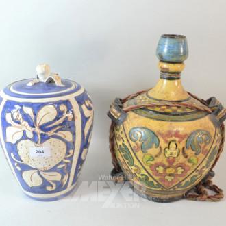 2 Keramikgefäße, Blumendekor