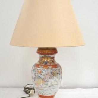 China-Vasen-Lampenpaar, Schirme beige,