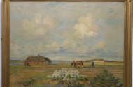 Gemälde ''Landwirt mit Pferdegespann