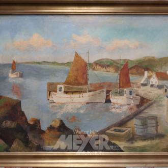 Gemälde ''Fischerboote im Hafen''