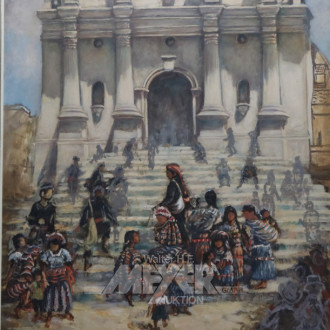 2 Gemälde ''südamerik. Stadtansichten