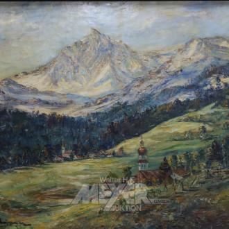 Gemälde ''Alpenlandschaft mit Kirche''