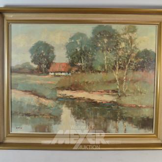 Gemälde  ''Bauernhaus im Moor''