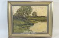 Gemälde  ''Wiese,See,Birke''