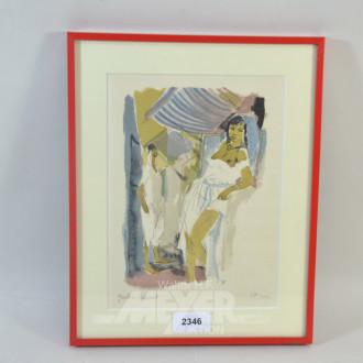 Lithographie  ''erotische Darstellung''