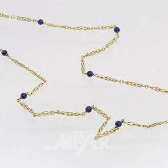 Kette, 585er GG, mit 8 blauen Perlen