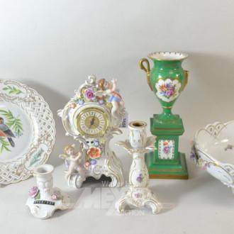 6 Teile Porzellan: Teller, Tischuhr,