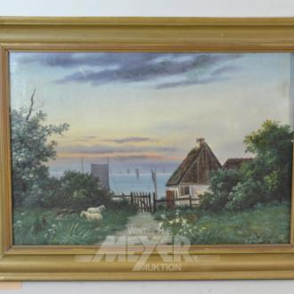 Gemälde ''Kate am See, mit Schafen''