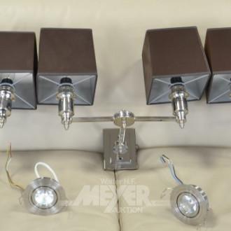 3 Wandlampen, 2-flammig, Metall verchromt,