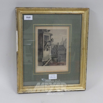 3 Kupferstiche u. 1 Lithografie: