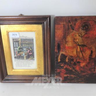 Druck auf Holzplatte ''Der heilige Georg''