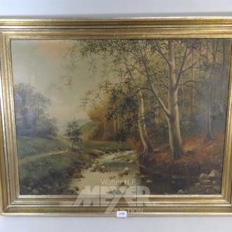 Gemälde ''Bachlauf am Waldrand''