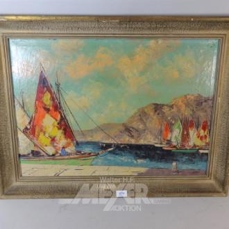 Ölbild ''Segelboote vor Gebirge''