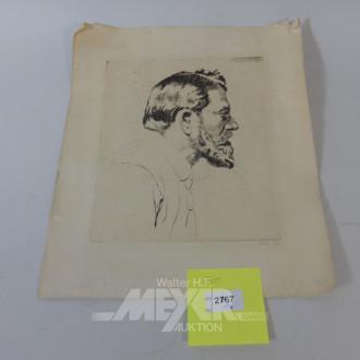 Radierung, Portrait ''der bärtige Mann''
