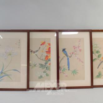4 Bilder ''Blumen/Vögel'', 38 x 28 cm