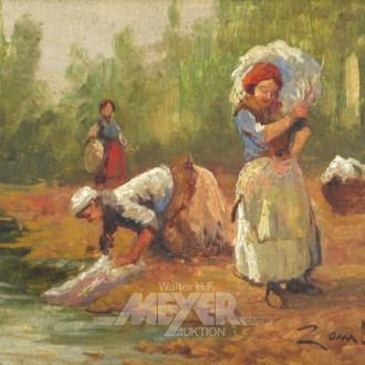 kl. Gemälde ''Beim Wäschewaschen''
