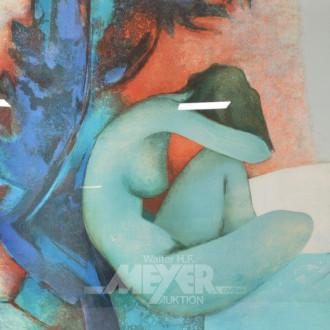 Lithographie, ''sitzender weibl. Akt''