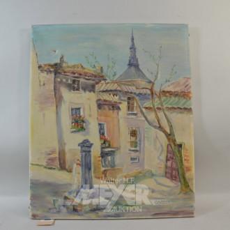 Gemälde ''Hausansicht mit Brunnen''