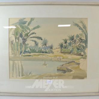 Aquarell ''Garten mit Pool''