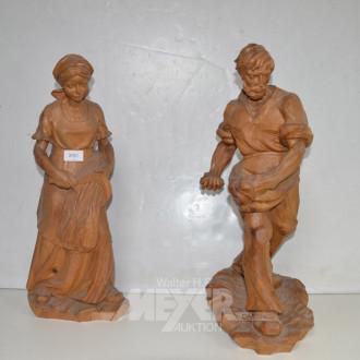 2 Holzschnitz- Figuren ''Bauer/Bäuerin''